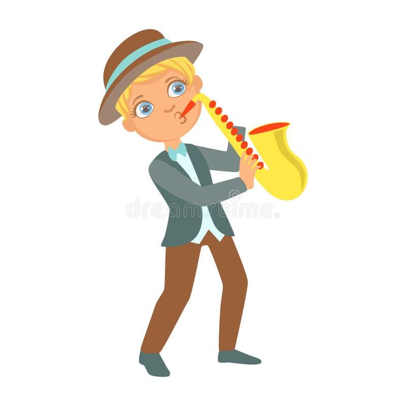 Jongen die Jazz On Saxophone, Jong geitje spelen die op Stadium, de Deelnemer van de Schoolshowcase met Muzikaal Artistiek Talent stock illustratie