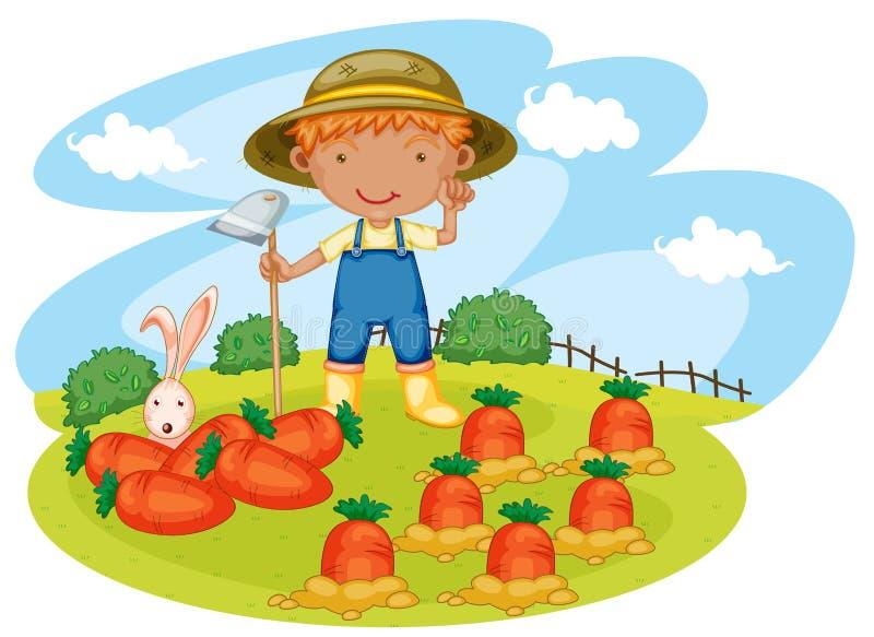 Jongen die in landbouwbedrijven werken royalty-vrije illustratie