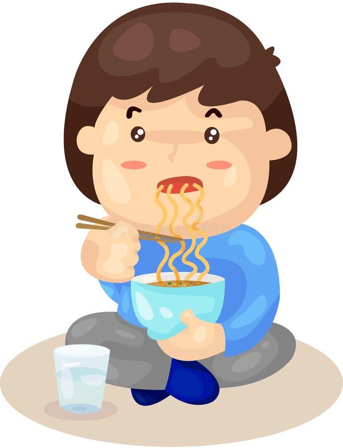 Jongen die noedels eten royalty-vrije illustratie