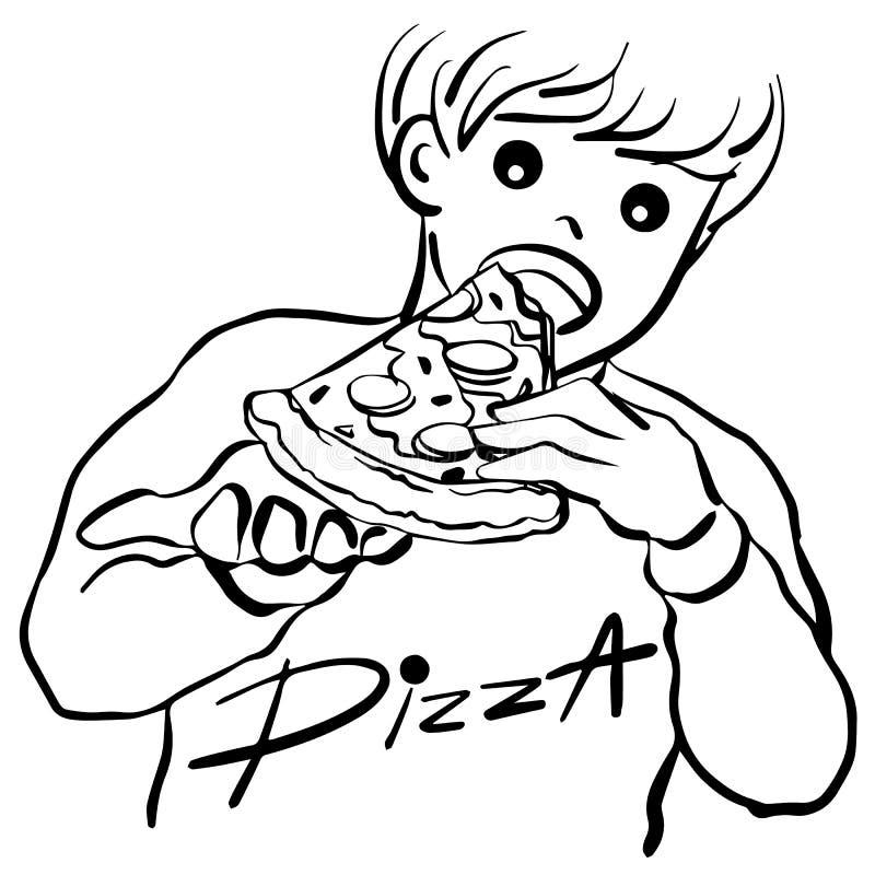 Jongen die ontwerp van de de handtekening van de pizza het vectorillustratie eten royalty-vrije illustratie