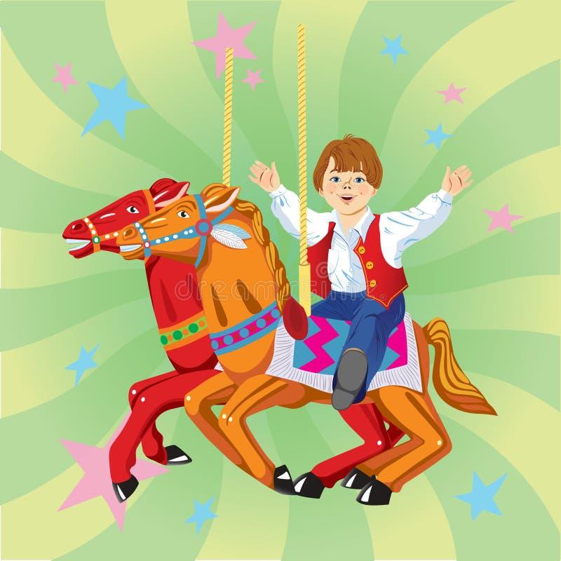 Jongen die op een carrousel berijden royalty-vrije illustratie