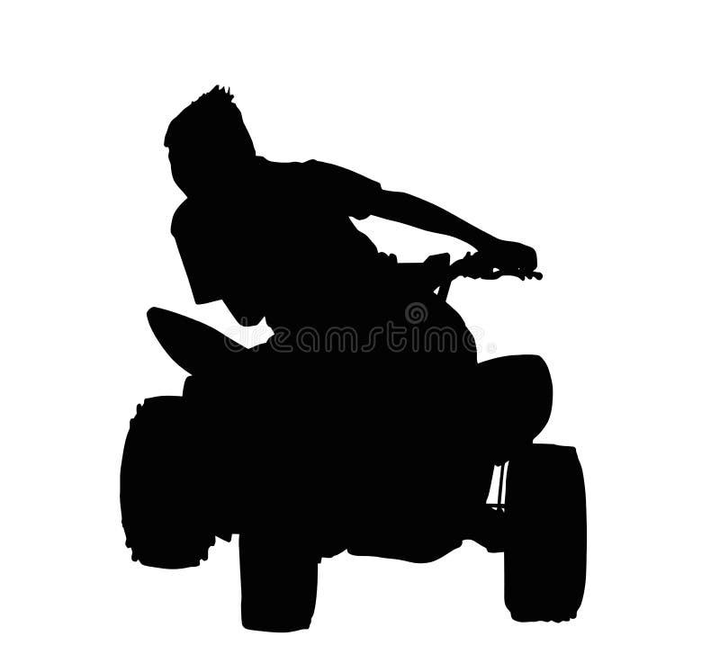 Jongen die op het Silhouet van de Vierlingfiets rennen royalty-vrije illustratie
