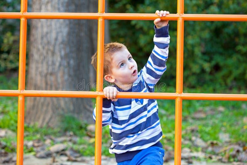 Jongen die in park beklimmen royalty-vrije stock foto's