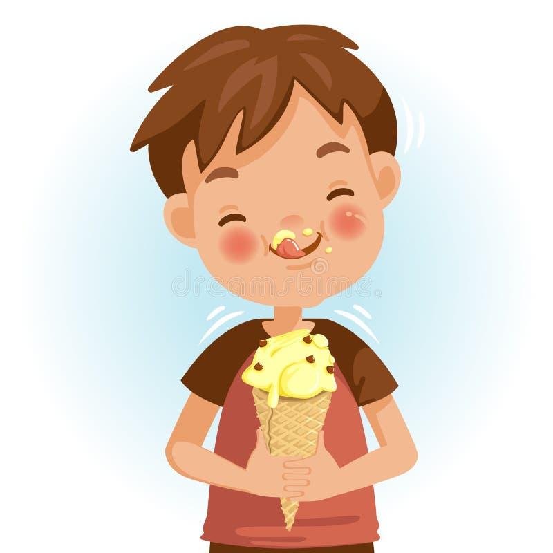 Jongen die Roomijs eet vector illustratie