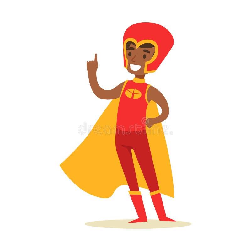 Jongen die Super Bevoegdheden beweren te hebben Gekleed in Rood Superhero-Kostuum met Geel Kaap en Helm Glimlachend Karakter vector illustratie