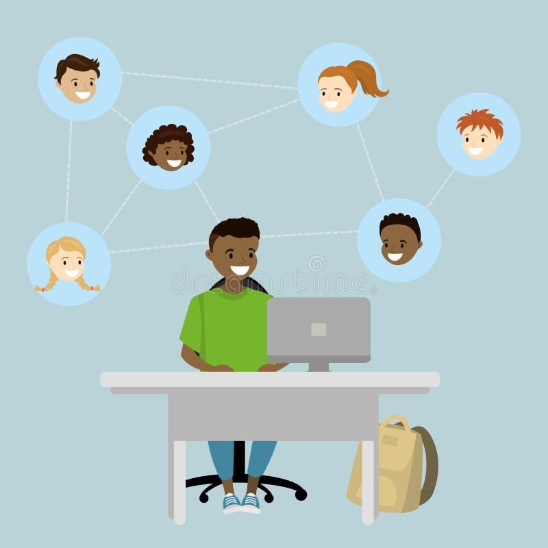 Jongen die van de beeldverhaal de Afrikaanse Amerikaanse tiener in sociale netwerken spreken vector illustratie