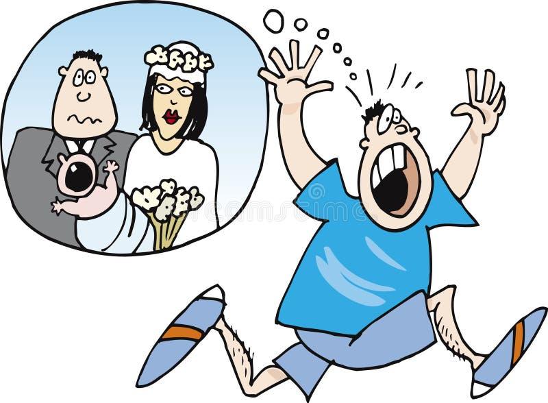 Jongen die van huwelijk en baby bang wordt gemaakt vector illustratie