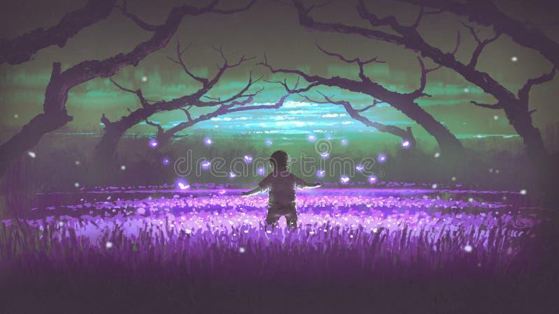 Jongen die zich in de tuin van purpere bloemen bevinden royalty-vrije illustratie