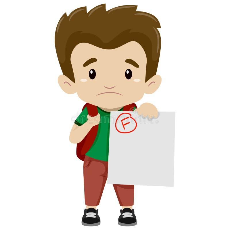 Jongen die zijn Ontbroken Examen tonen vector illustratie