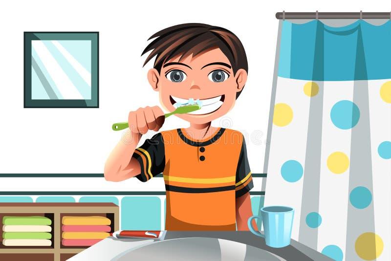 Jongen die zijn tanden borstelt stock illustratie