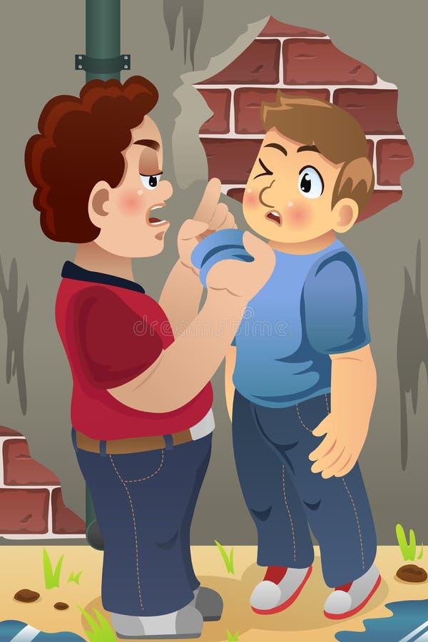 Jongen die Zijn Vriend intimideren vector illustratie
