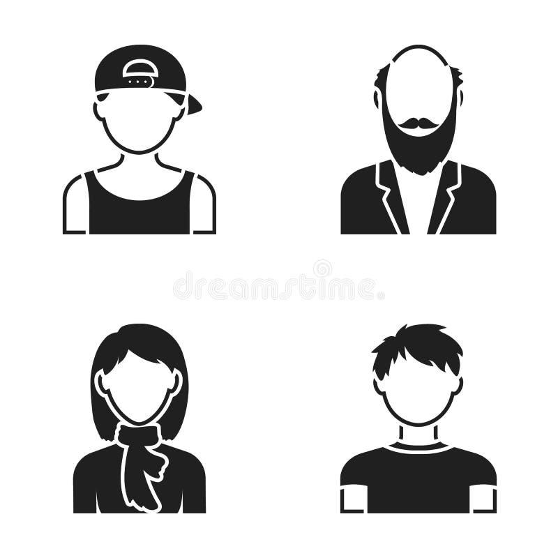 Jongen in een GLB, redheaded tiener, grootvader met een baard, een vrouw Avatar vastgestelde inzamelingspictogrammen in zwarte st stock illustratie