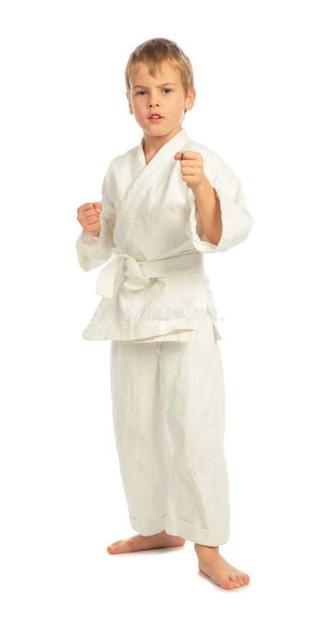 Jongen in een rek in karate royalty-vrije stock foto's