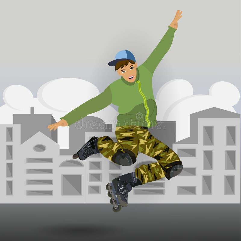 Jongen in een rolsprong vector illustratie