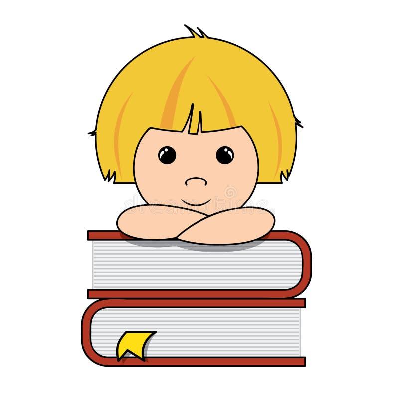 Jongen en boeken vector illustratie