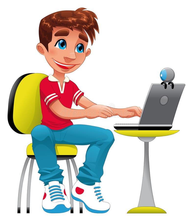 Jongen en computer. vector illustratie