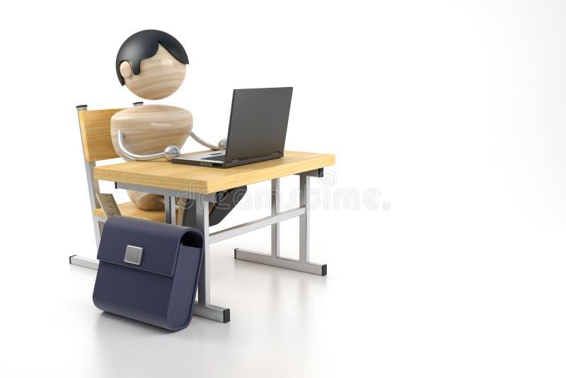Jongen en computer royalty-vrije illustratie