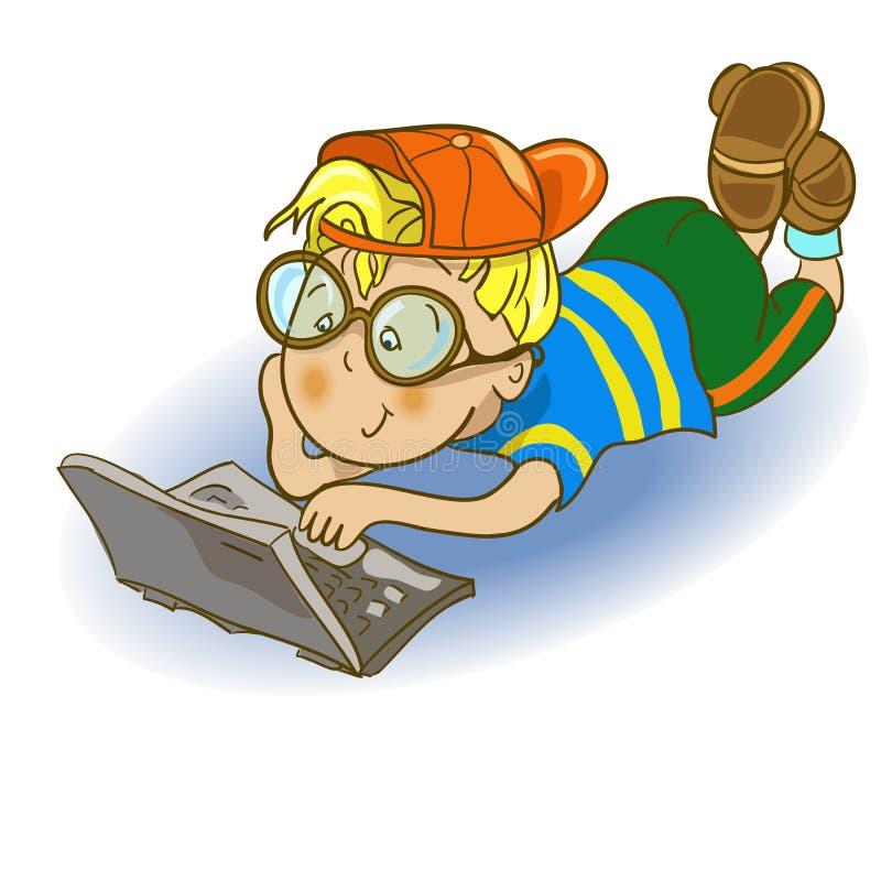 Jongen en computer Grappig beeldverhaal en karakter stock illustratie