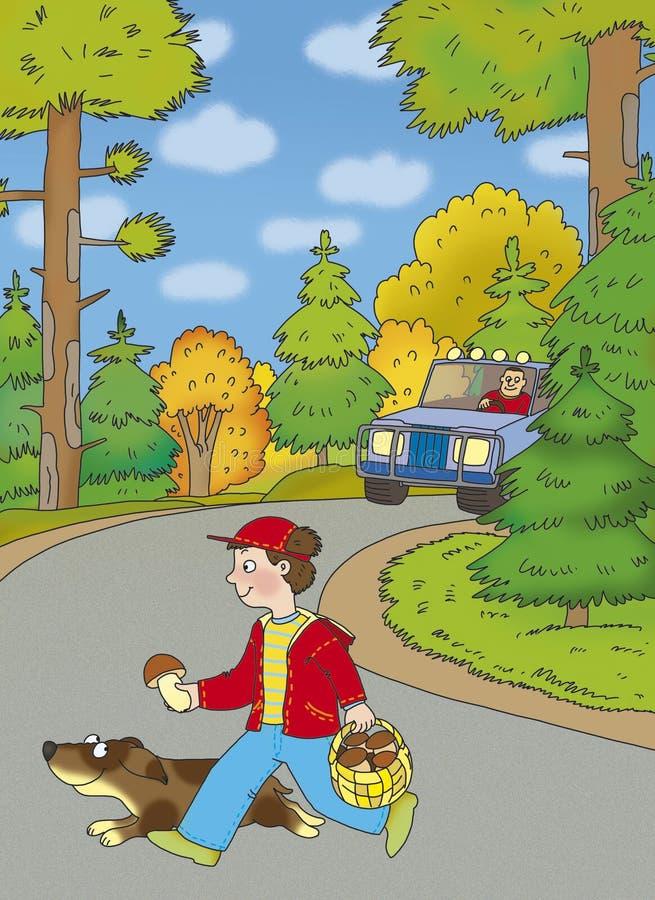 Jongen en een hond royalty-vrije illustratie