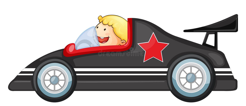 Jongen en een raceauto vector illustratie