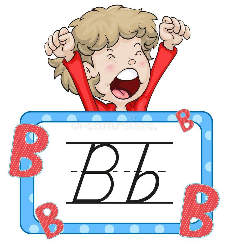 Jongen en flashcard voor brief B royalty-vrije illustratie