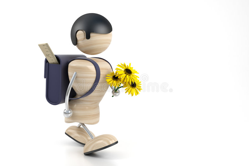 Jongen en gele bloemen vector illustratie