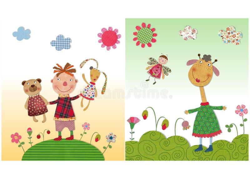 Jongen en giraf stock illustratie