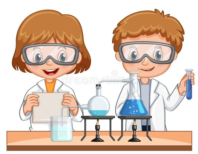 Jongen en girl do science experiment samen royalty-vrije illustratie