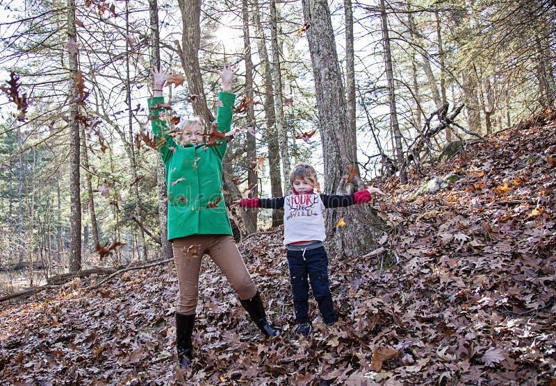 Jongen en grootmoeder het spelen in bladeren royalty-vrije stock afbeeldingen