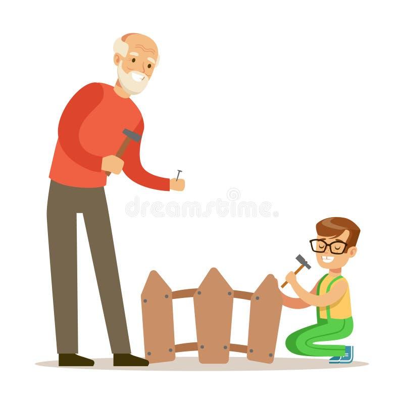 Jongen en Grootvader het Hameren Spijkers in de Omheining, een Deel van Grootouders die Pret met Kleinkinderenreeks hebben royalty-vrije illustratie