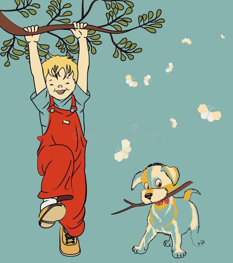 Jongen en hond vector illustratie