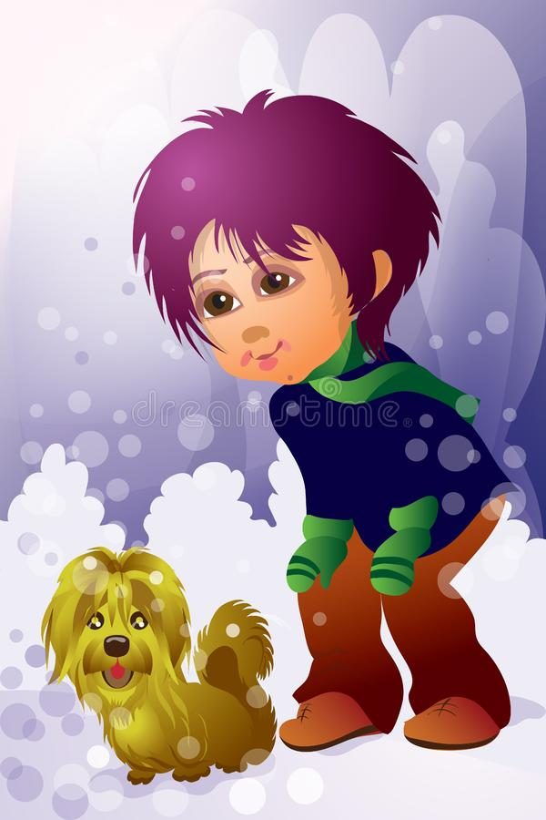 jongen en huisdier stock afbeeldingen