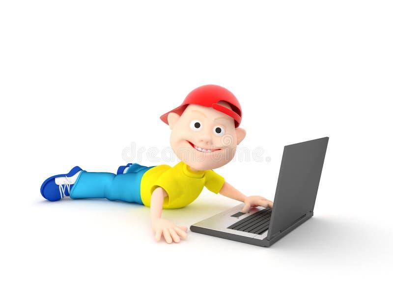 Jongen en laptop vector illustratie