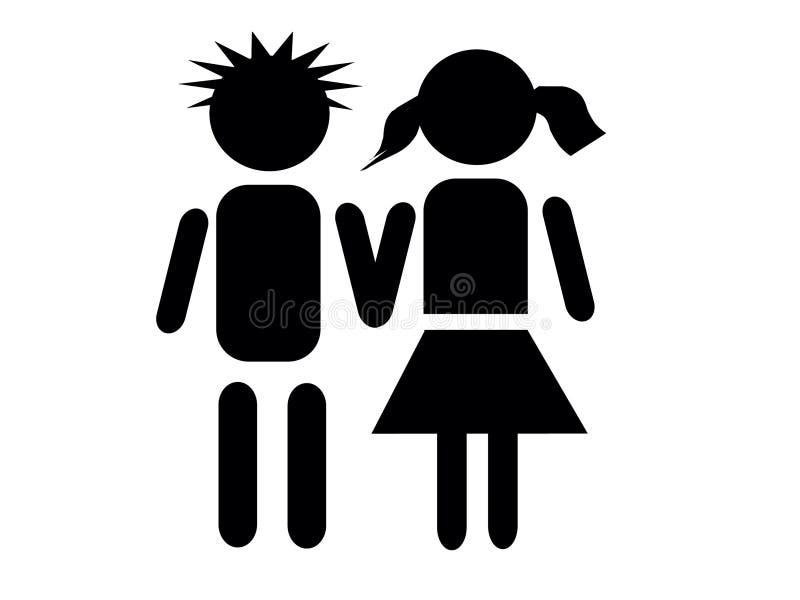 Jongen en meisje vector illustratie