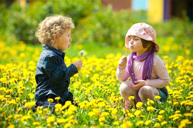 Jongen en meisje in bloemen royalty-vrije stock afbeeldingen