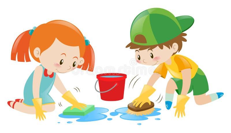 Jongen en meisje die de vloer schoonmaken royalty-vrije illustratie