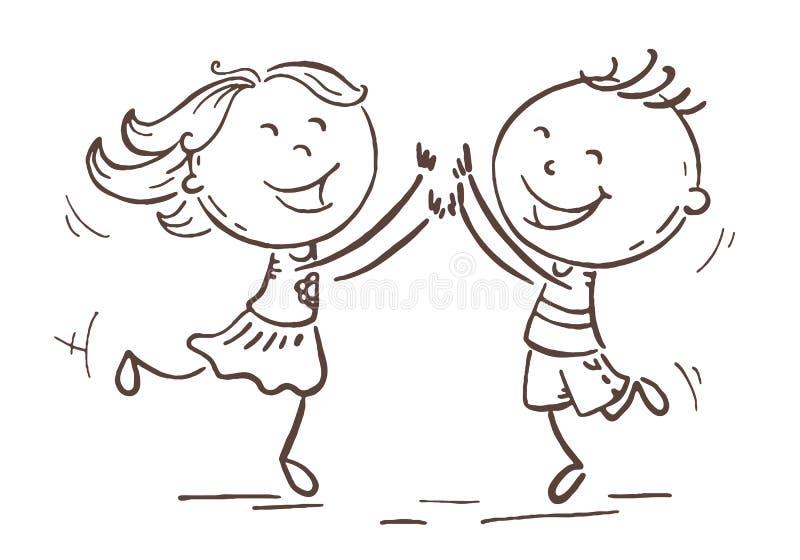 Jongen en meisje die met vreugde, beeldverhaalvector springen vector illustratie
