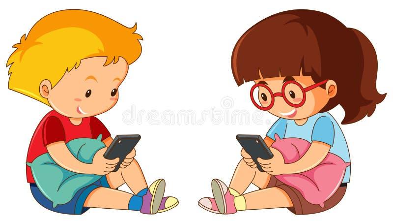 Jongen en meisje die mobiele telefoon spelen vector illustratie