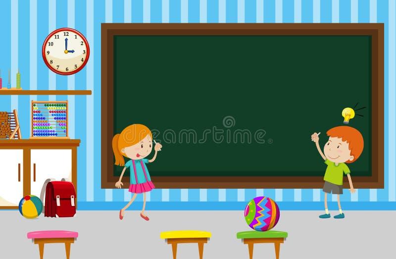 Jongen en meisje die op bord in klaslokaal schrijven vector illustratie