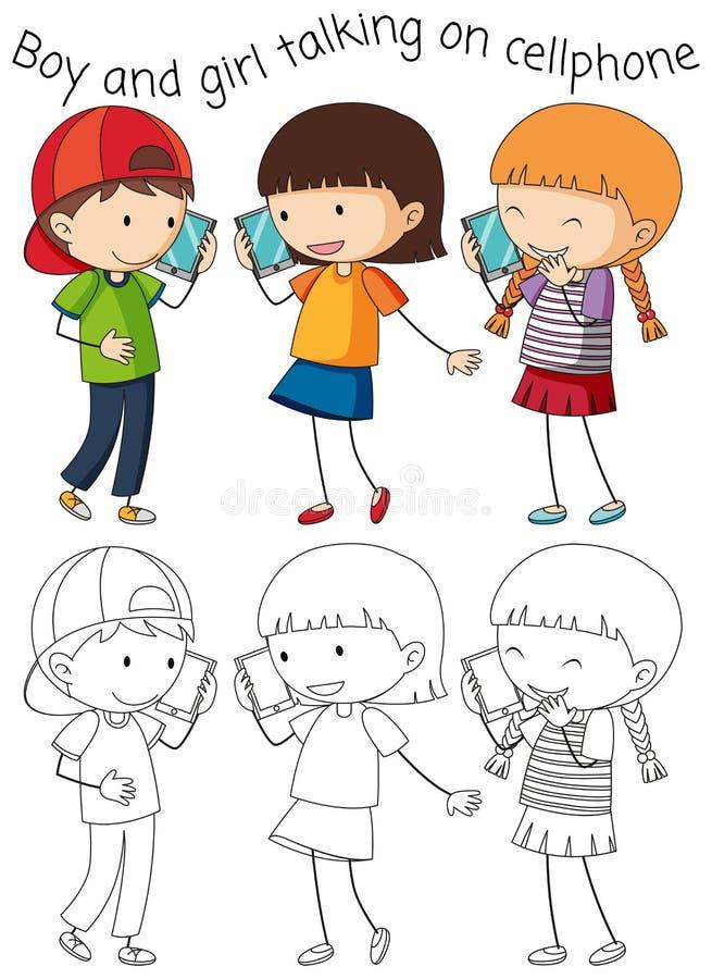 Jongen en meisje die op cellphone spreken stock illustratie