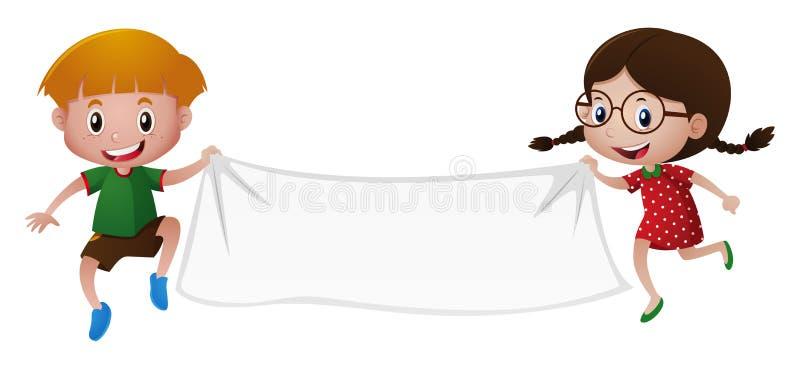 Jongen en meisje die witte banner houden stock illustratie