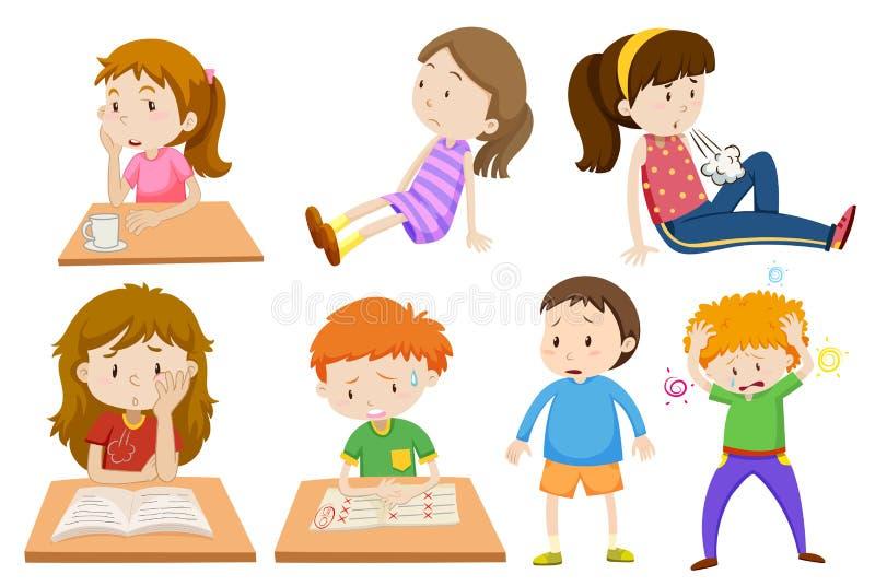 Jongen en meisje die worden vermoeid stock illustratie