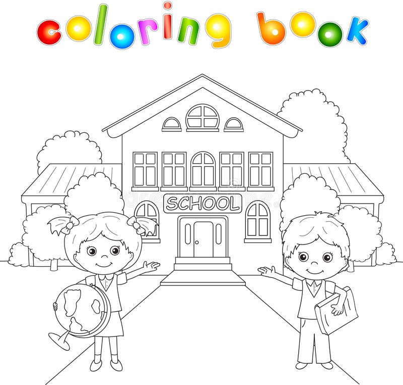 Jongen en meisje die zich dichtbij het schoolgebouw bevinden in een schoolplein royalty-vrije illustratie