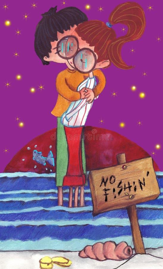 Jongen en meisje en laatste kus van de zomer vector illustratie
