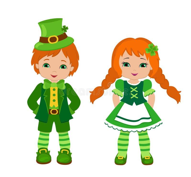 Jongen en meisje in Ierse kostuums St Patrick Dag vector illustratie