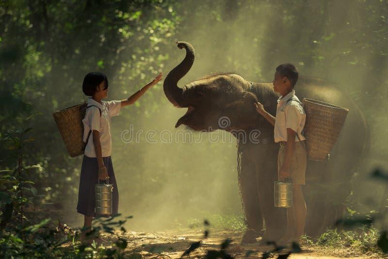 Jongen en meisje met olifant stock foto's