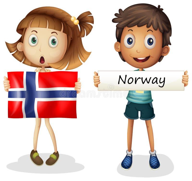 Jongen en meisje met vlag van Noorwegen royalty-vrije illustratie