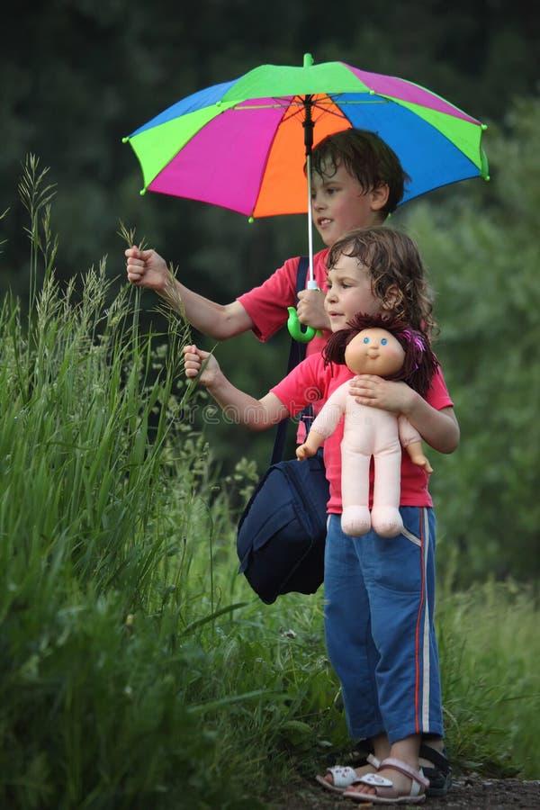 Jongen en meisje onder paraplu in het gras van de parkscheur royalty-vrije stock afbeelding
