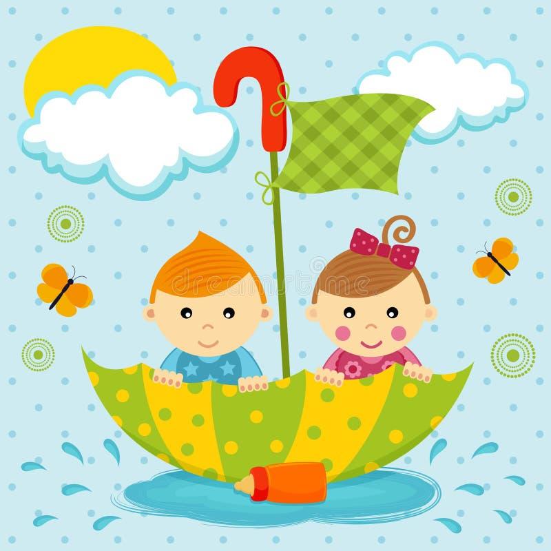 Jongen en meisje op de paraplu vector illustratie
