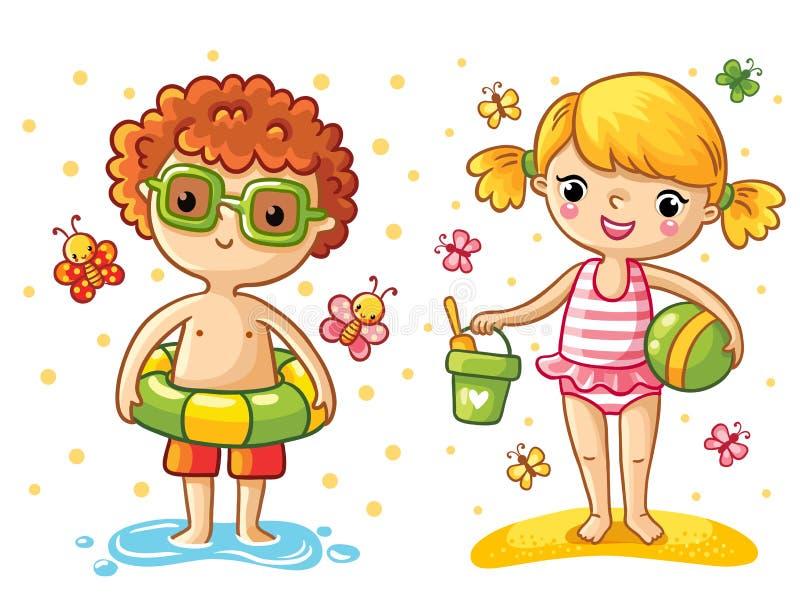 Jongen en meisje op het strand royalty-vrije illustratie